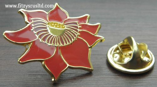 Red Lotus Sacred Flower Lapel Hat Cap Tie Pin Badge Padma Symbol Kamala Brooch